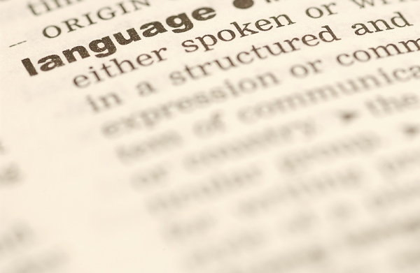 Close up of Disctionary definition of Language